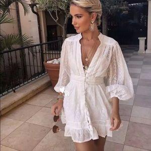Boho Crochet Eyelet Button Up V Neck Dress White